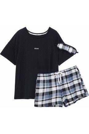 DKNY Printed jersey and checked flannel pajama set