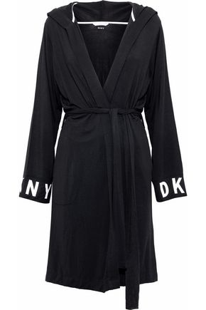 DKNY Printed stretch-modal hooded robe