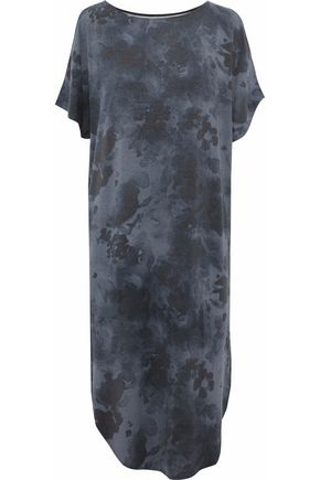 DKNY Cold-shoulder tie-dye modal-blend jersey nightdress