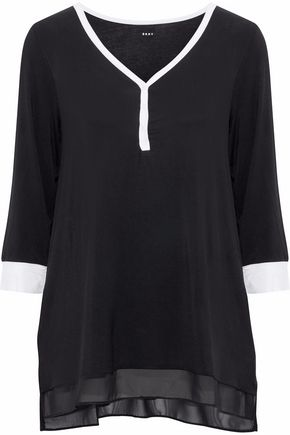DKNY Chiffon-trimmed stretch-modal-jersey pajama top