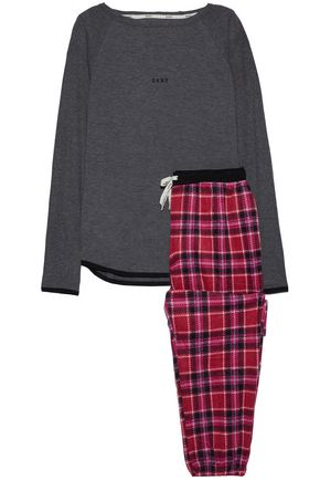 DKNY Jersey and checked fleece pajama set