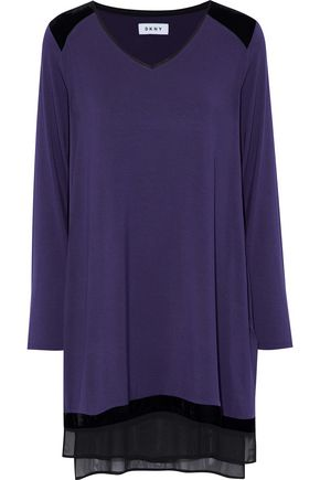 DKNY Velvet and chiffon-trimmed stretch modal-jersey nightdress