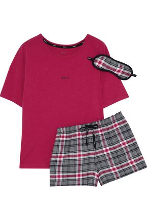 DKNY Checked cotton-blend pajama set