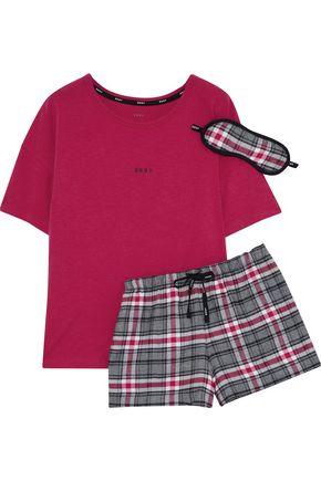 DKNY Checked cotton-blend pajama set