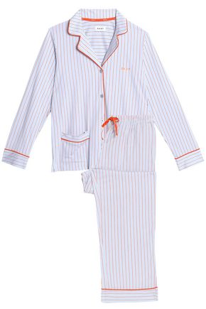 DKNY Striped cotton-blend poplin pajama set