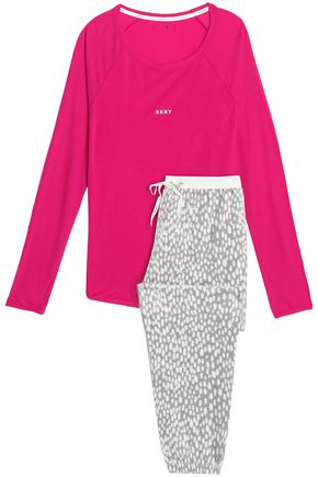 DKNY Printed fleece and stretch-modal jersey pajama set