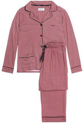 DKNY Striped cotton-blend poplin pajama set
