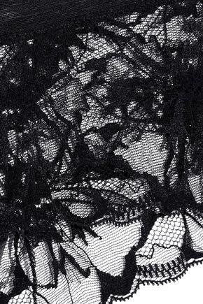 LA PERLA Wisteria satin-paneled lace low-rise briefs