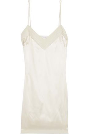 LA PERLA Pleated georgette-trimmed stretch-silk satin chemise