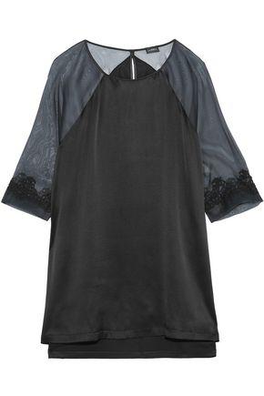 LA PERLA Appliquéd chiffon-paneled silk-satin nightdress