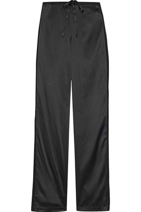 LA PERLA Chiffon-trimmed stretch silk-satin pajama pants