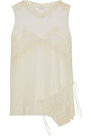 LA PERLA Guipure lace-trimmed silk-chiffon camisole and panty set