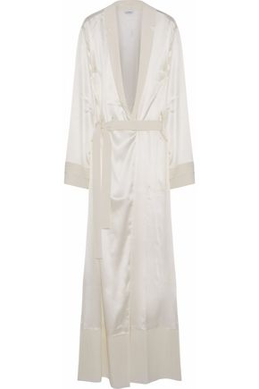 LA PERLA Crepe de chine-trimmed silk-blend satin robe