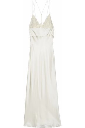 LA PERLA Guipure lace-paneled silk-blend satin nightdress