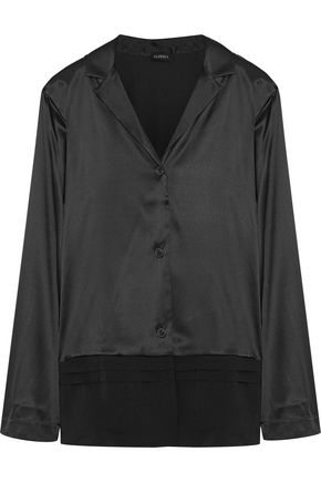 LA PERLA Georgette-paneled silk-blend satin pajama shirt
