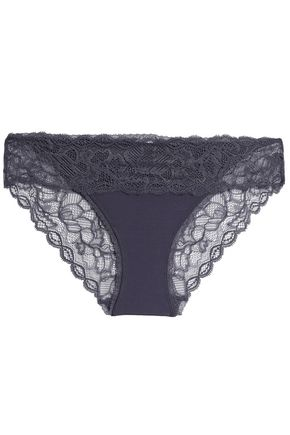 CALVIN KLEIN Lace-paneled stretch-jersey low-rise briefs