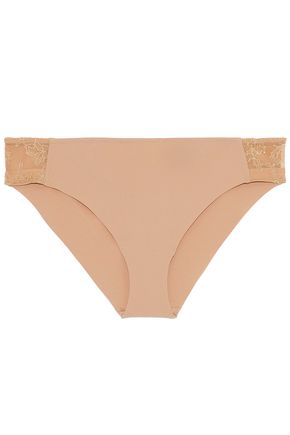 LA PERLA Stretch-jersey and corded lace mid-rise briefs