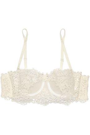 LA PERLA Guipure lace-appliquéd tulle and stretch-jersey underwired bra