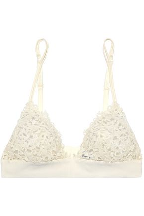 LA PERLA Silk-blend embroidered tulle soft-cup triangle bra