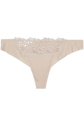 LA PERLA Stretch-jersey and guipure lace mid-rise thong