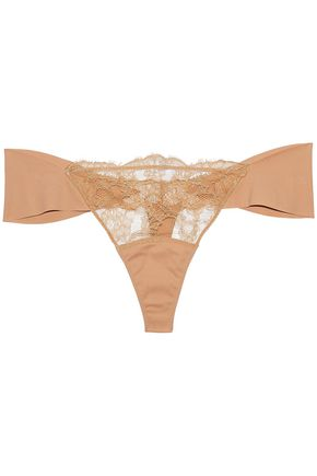 LA PERLA Lace and jersey low-rise thong