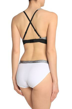 CALVIN KLEIN Printed stretch-cotton sports bra