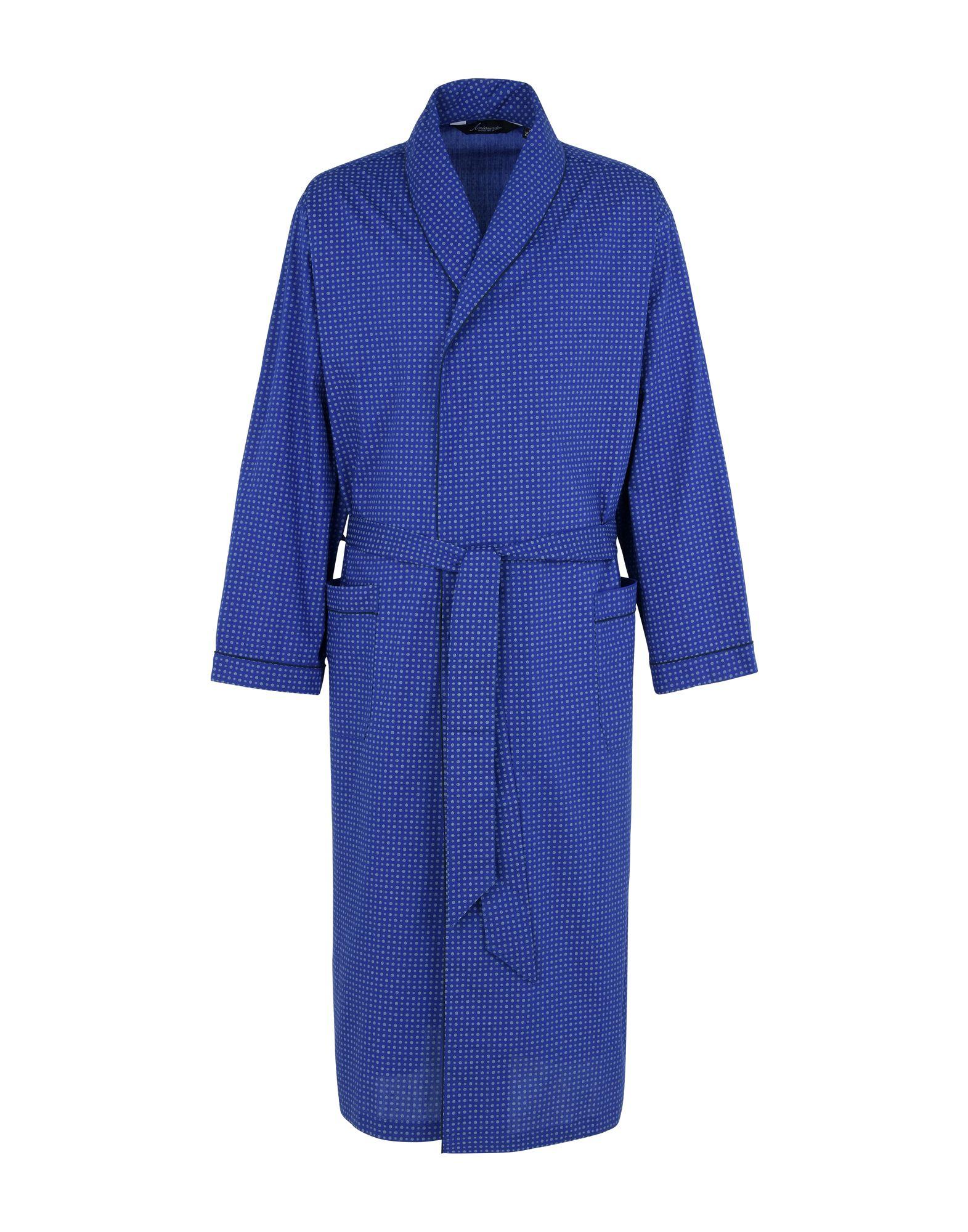 《送料無料》AMBASSADOR メンズ ドレスガウン ブルー 46 コットン 100% Gown