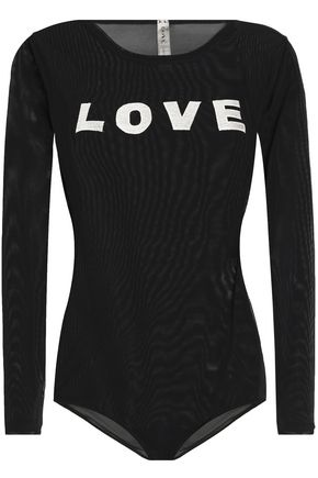 LOVE STORIES Embroidered tulle bodysuit