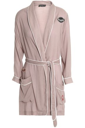 LOVE STORIES Appliquéd cotton-voile robe