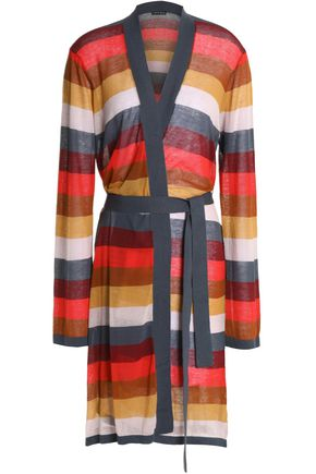 LOVE STORIES Striped cotton-blend robe