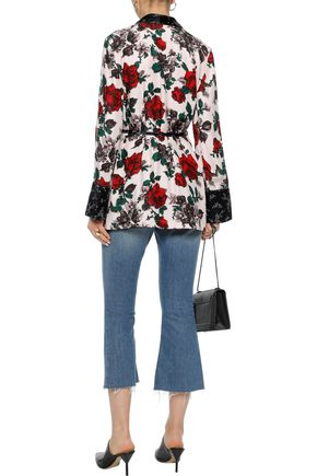 EQUIPMENT Printed silk-satin wrap blouse
