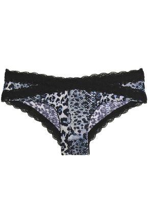 JUST CAVALLI Lace-trimmed leopard-print low-rise briefs