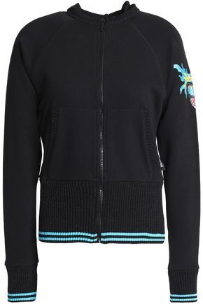 JUST CAVALLI UNDERWEAR Printed French cotton-terry hooded jacket