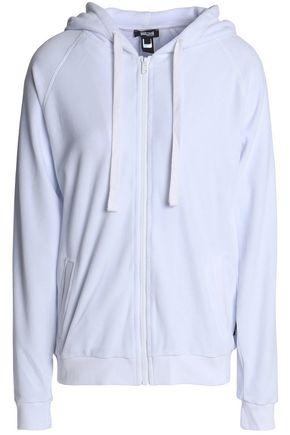 JUST CAVALLI UNDERWEAR Crystal-embellished cotton-blend chenille hooded sweatshirt