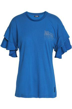 JUST CAVALLI UNDERWEAR Crystal-embellished cotton-blend jersey top