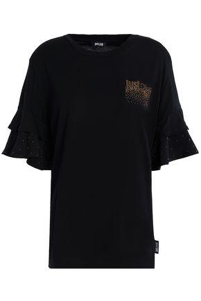 JUST CAVALLI UNDERWEAR Embellished cotton-blend jersey T-shirt