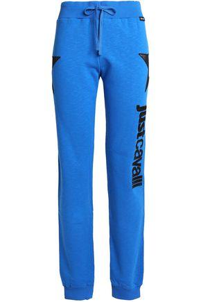 JUST CAVALLI UNDERWEAR Mesh-paneled appliquéd French cotton-terry pajama pants