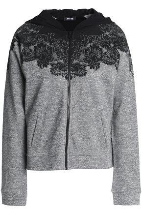 JUST CAVALLI Printed French cotton-blend terry jacket