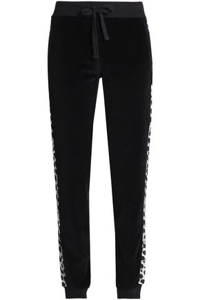 JUST CAVALLI UNDERWEAR Paneled French cotton-blend terry pajama pants