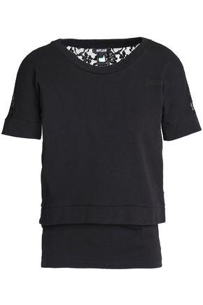 JUST CAVALLI UNDERWEAR Lace-paneled layered cotton-blend jersey top