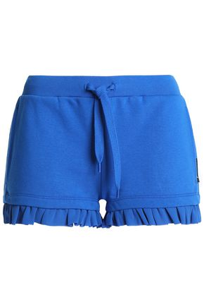JUST CAVALLI UNDERWEAR Ruffle-trimmed French cotton-blend terry pajama shorts