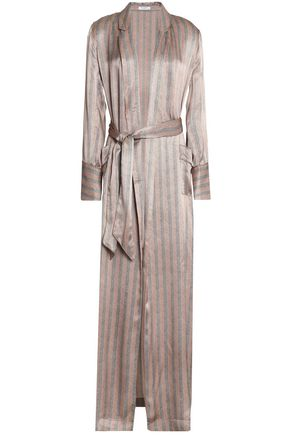 EQUIPMENT Florian striped herringbone silk-satin robe