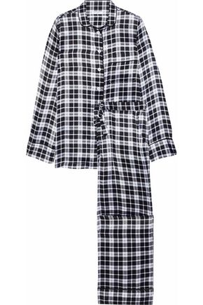 EQUIPMENT Avery checked washed-silk pajama set