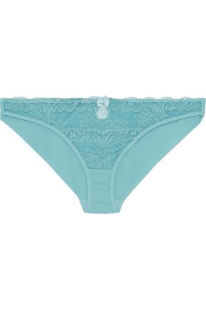 STELLA McCARTNEY Poppy Playing lace and stretch-jersey low-rise briefs