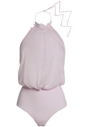LA PERLA Draped slub stretch-jersey bodysuit