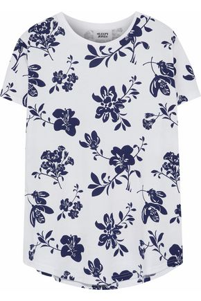 SLEEPY JONES Floral-print cotton-jersey pajama top