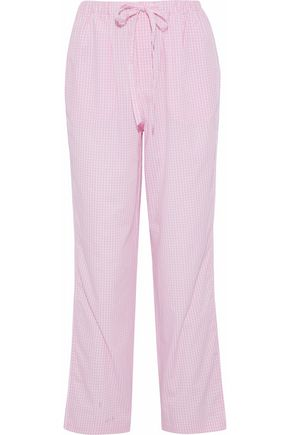 SLEEPY JONES Gingham cotton-poplin pajama pants