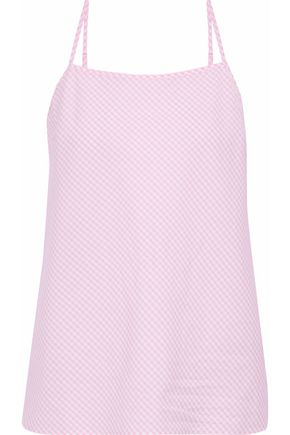 SLEEPY JONES Gingham cotton-poplin pajama top