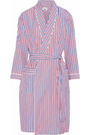 SLEEPY JONES Striped cotton-poplin robe