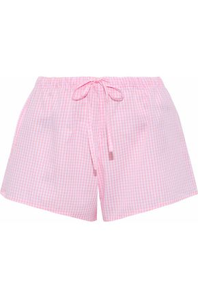 SLEEPY JONES Gingham cotton-poplin pajama shorts